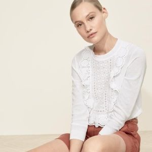 Eyelet sweater in summerweight cotton